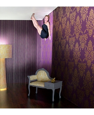 Damask Suzanne Purple Wallpaper