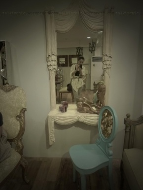 talkischic la brea curtain dresser and chair