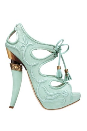 Dior '09 Armored baby blue embroidered horned heel with tassel details